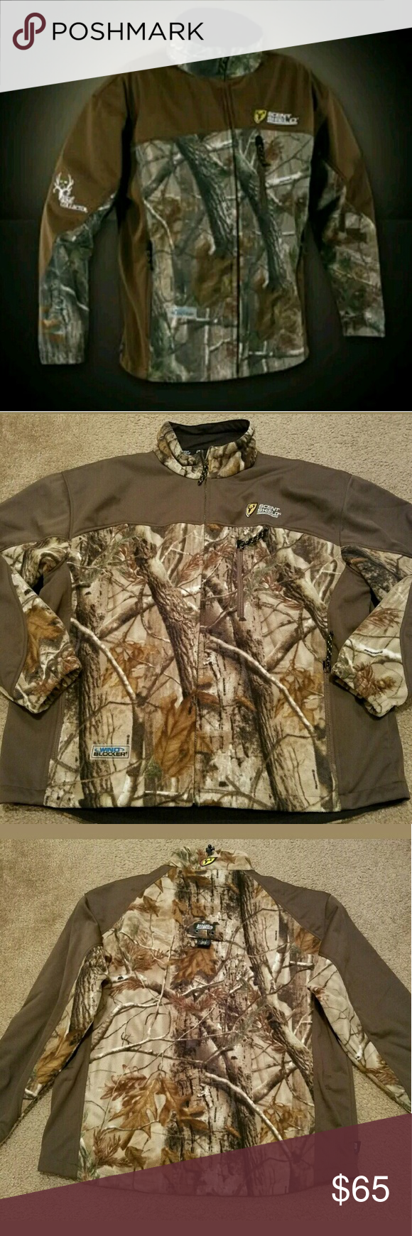 Realtree AP Bone Collector Scent Shield S3 Sz XL This Realtree AP Bone Collector Scent Shield S3 Wind Blocker Fleece Hunting Jacket Size XL is a great item for your hunting husband. It is in excellent pre-owned condition. It has no stains, rips or tears anywhere in the fabric. All zippers slide smoothly and easily. This jacket features a  tree spider for easy hook up and safety. These jackets retail for up to $300+. Great for the hunter. Measurements are: Armpit to Armpit: 28 inches  Length…