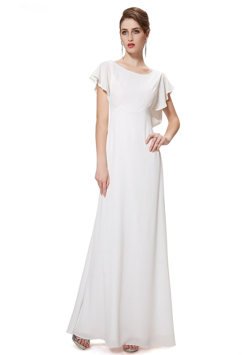 Jewel Floor Length White Chiffon Sheath-Column Evening Dress  ffc1e9f876aa