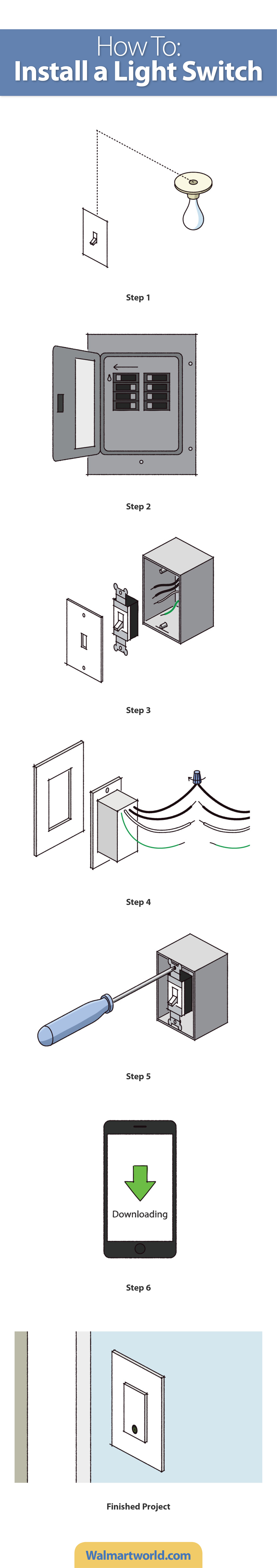 Install a wifi light switch and control your lights with your