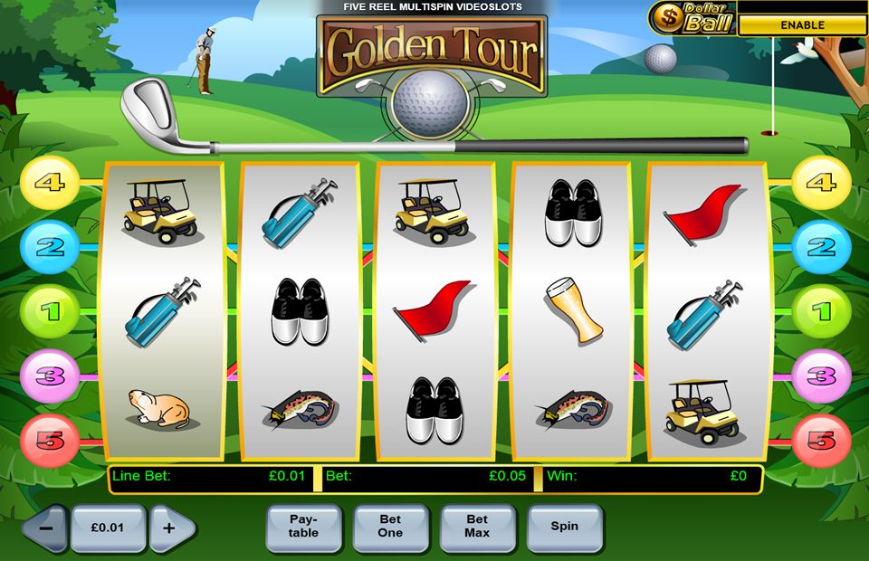 Golden Tour golf themed video game at pussy888 online! Play now