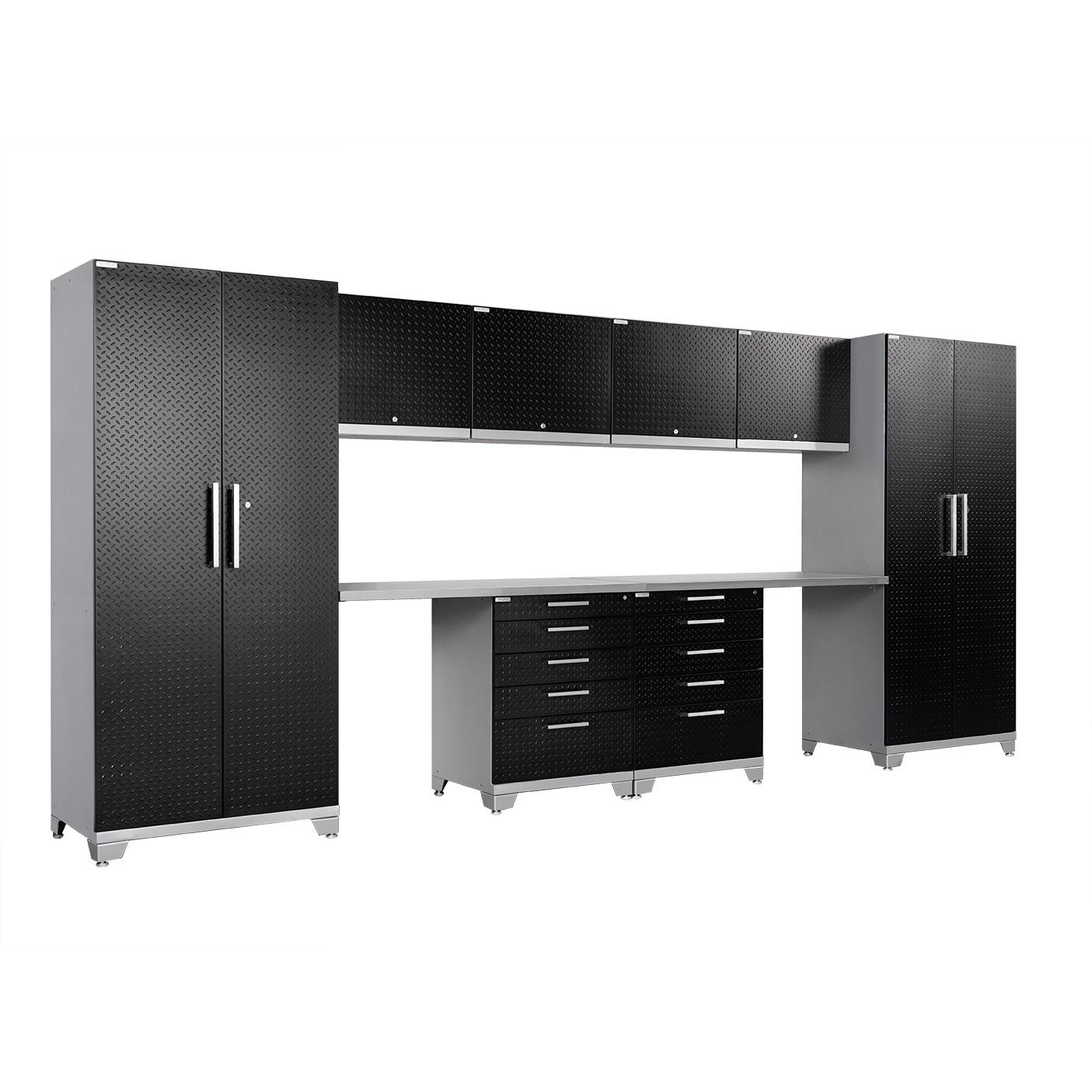 NewAge Products Performance Plus Diamond Plate 10 Piece Metal Cabinet Set (
