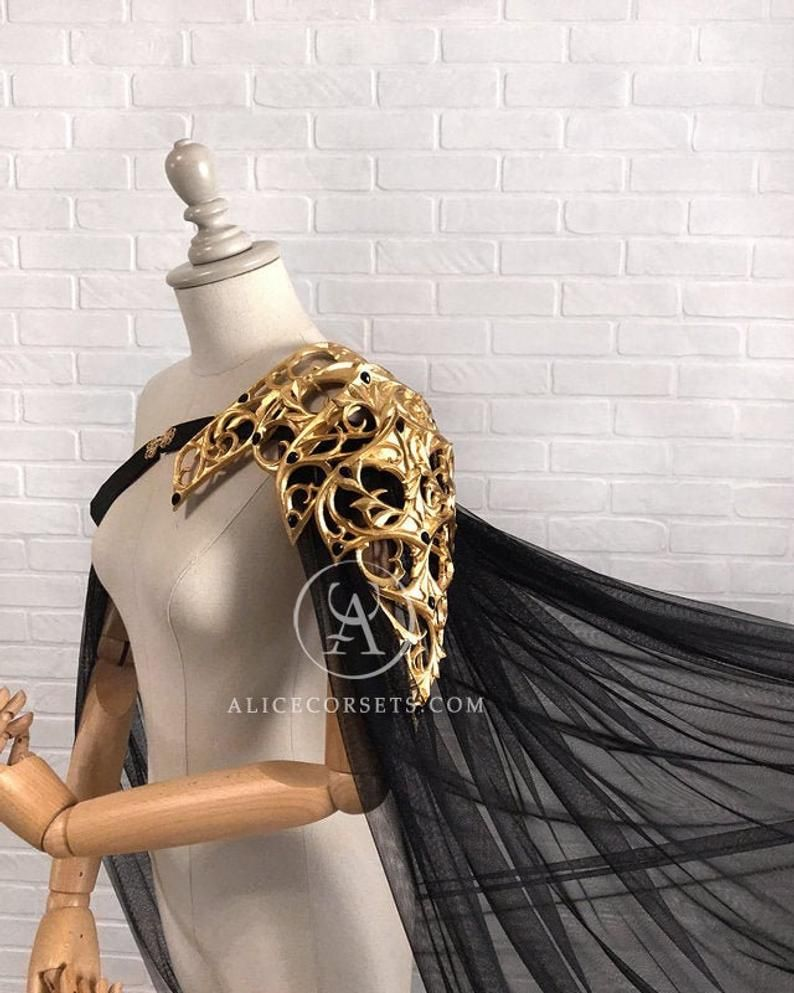 Photo of Elvish Inspired Pauldron ~ Royal Gothic Shoulder Armor Cape ~ Baroque High Fashion Elven Spaulder Cloak ~ Fairytale Fantasy Medieval Outfit