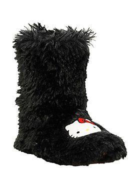 e9b7eec40 Black, fuzzy slipper boots with Hello Kitty face detailing.<ul><li>  Man-made materials</li><li>Imported</li><li>Listed in women's  sizes</li></ul>