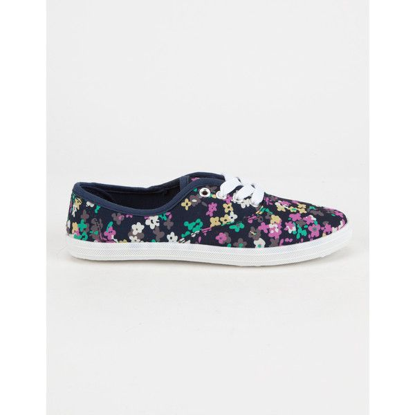 Blue Suede Shoes Smudge Floral Girls Sneakers ($5.49) ❤ liked on Polyvore featuring shoes, sneakers, blue floral shoes, floral pattern shoes, blue sneakers, floral-print shoes and suede leather shoes