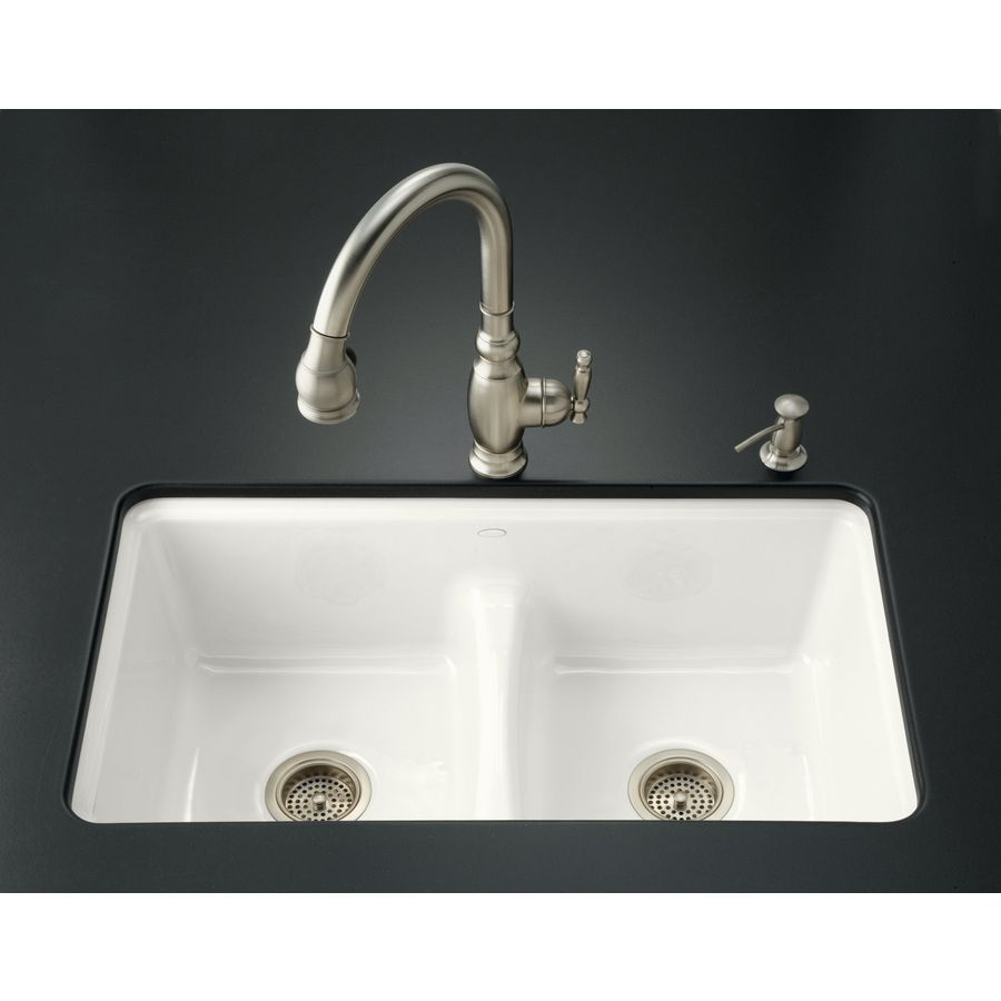 KOHLER Deerfield 22-in x 33-in White Double-Basin Cast Iron ...