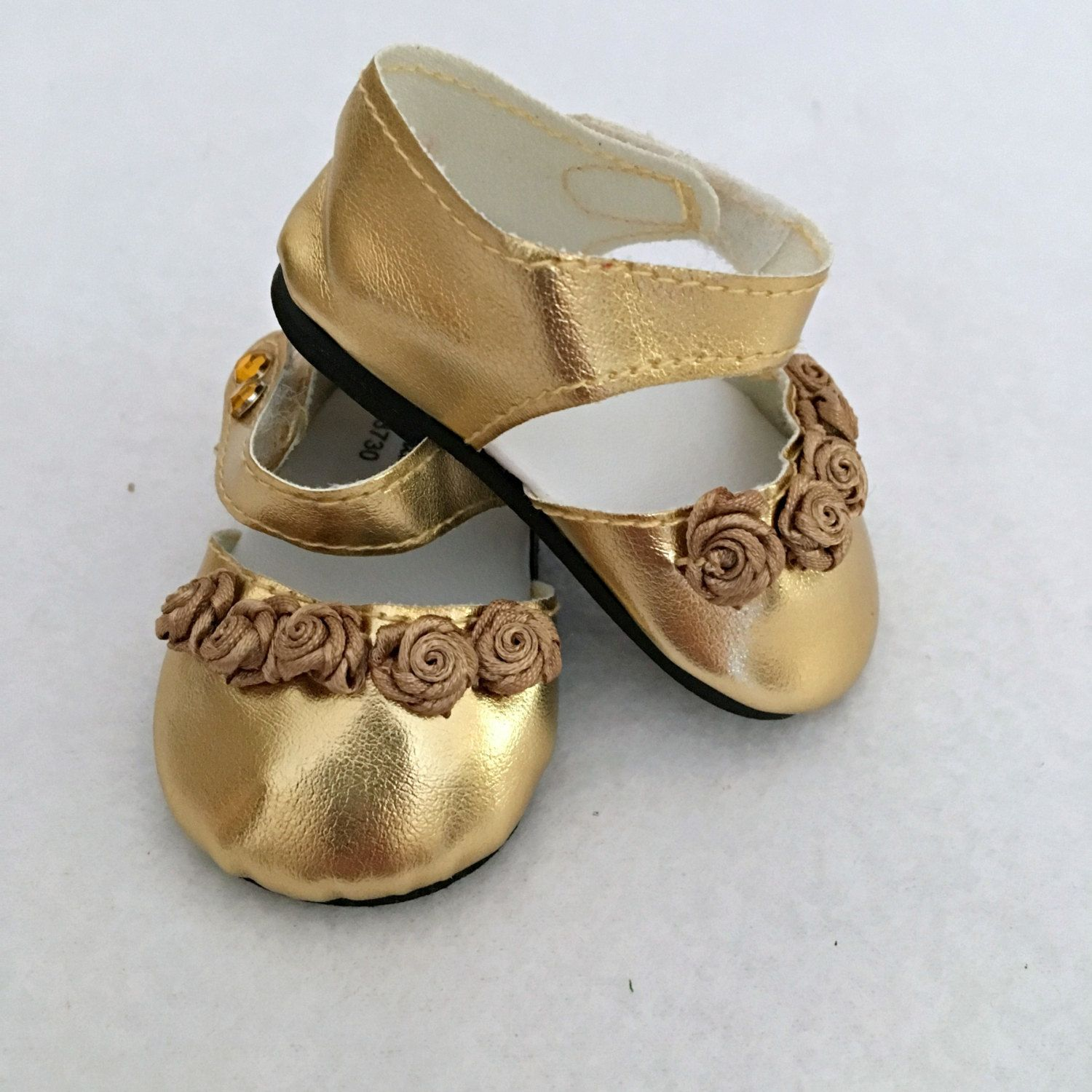 13461bdf27070 Ankle Strap Doll Shoes - 18 Inch Doll - Gold Doll Shoes - Doll ...