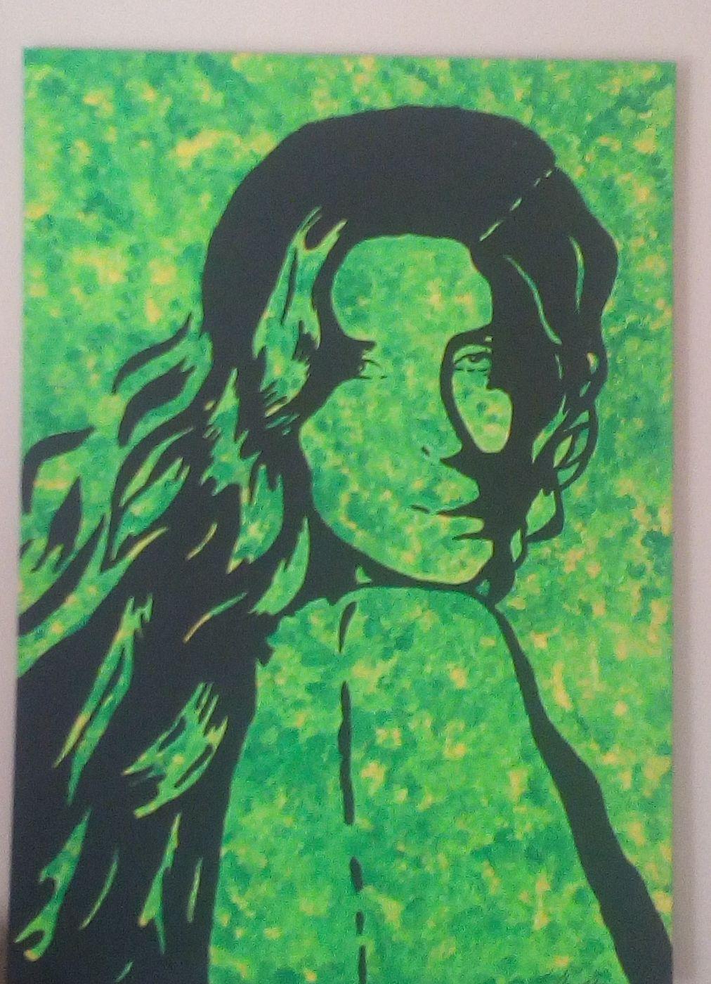 Kareena Kapoor, Grün, Zweifarbigkeit, Acrylmalerei
