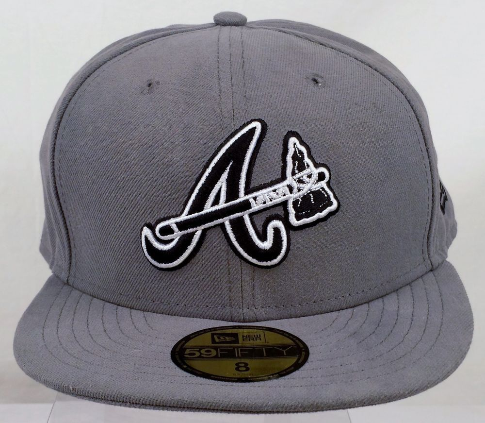 Atlanta Braves New Era 5950 Fitted Cap Size 8 Gray Black White Tomahawk Euc Atlanta Braves Headwear Hats
