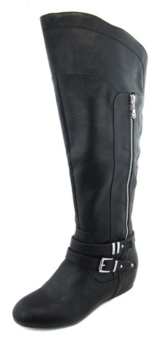 G By Guess Women's Black Gaines Tall Knee High Wedge Boots
