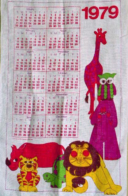 1979 Calendar Vintage Calendar Hanging Calendar Tea Towels
