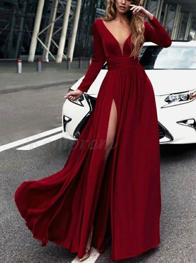 ba0c77a3e8f7 Best A-Line V-neck Long Sleeves Button Slit Leg Dark Red Prom Dress in  Romprom.com