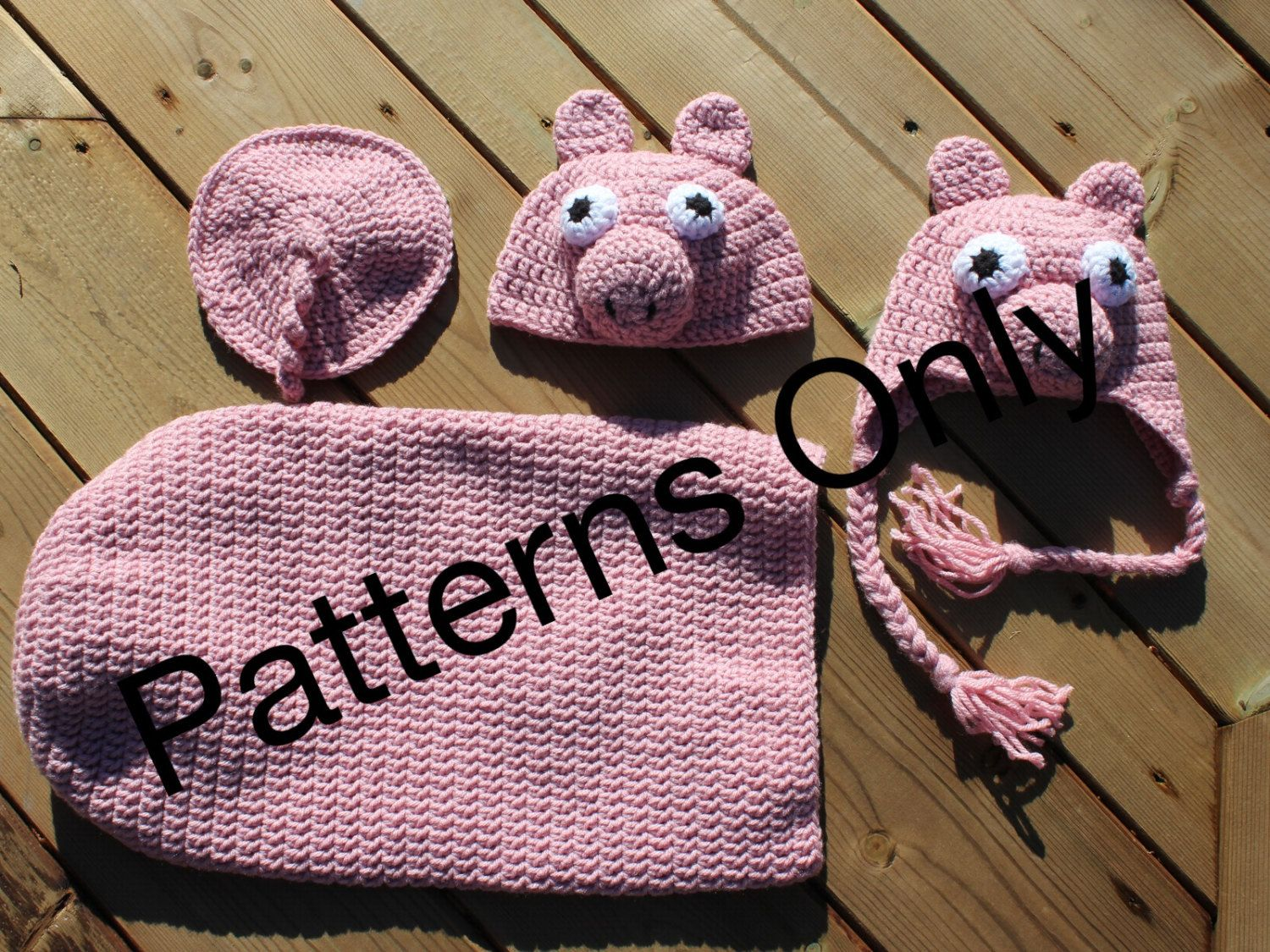 Pig Cocoon anf Hat Crochet Pattern for Baby and Newborn, 0-3 months ...