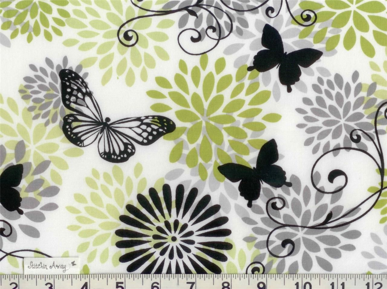 GLAMOUR GIRL Quilting FABRIC 100% Cotton Black, White, Gray, Lime ...