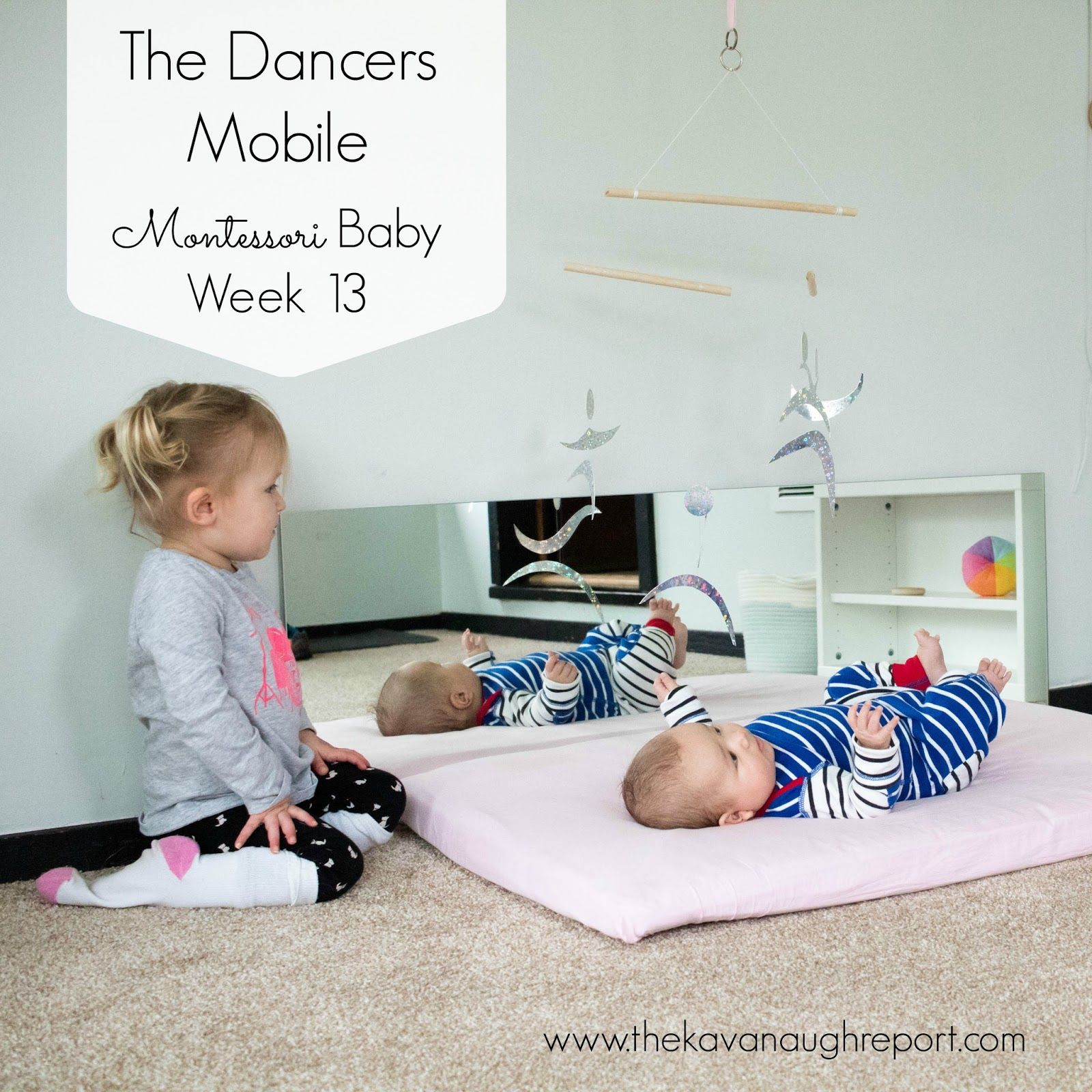 The fourth Montessori baby mobile in the visual series, the Montessori  dancers mobile helps to increase visual tracking and concentration in babies .