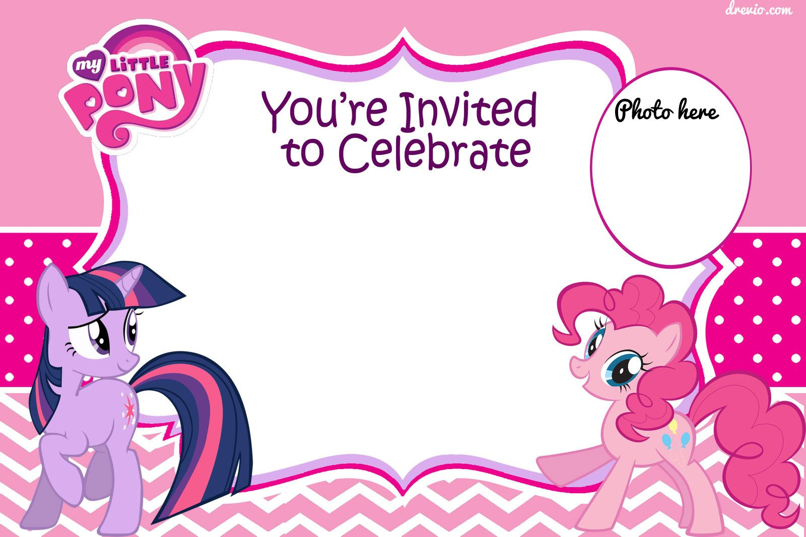 Download FREE Printable My Little Pony Birthday Invitation Template