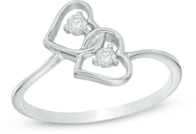 Zales 1/10 CT. T.w. Diamond Geometric-Shape Ring in Sterling Silver Gis2O4Y
