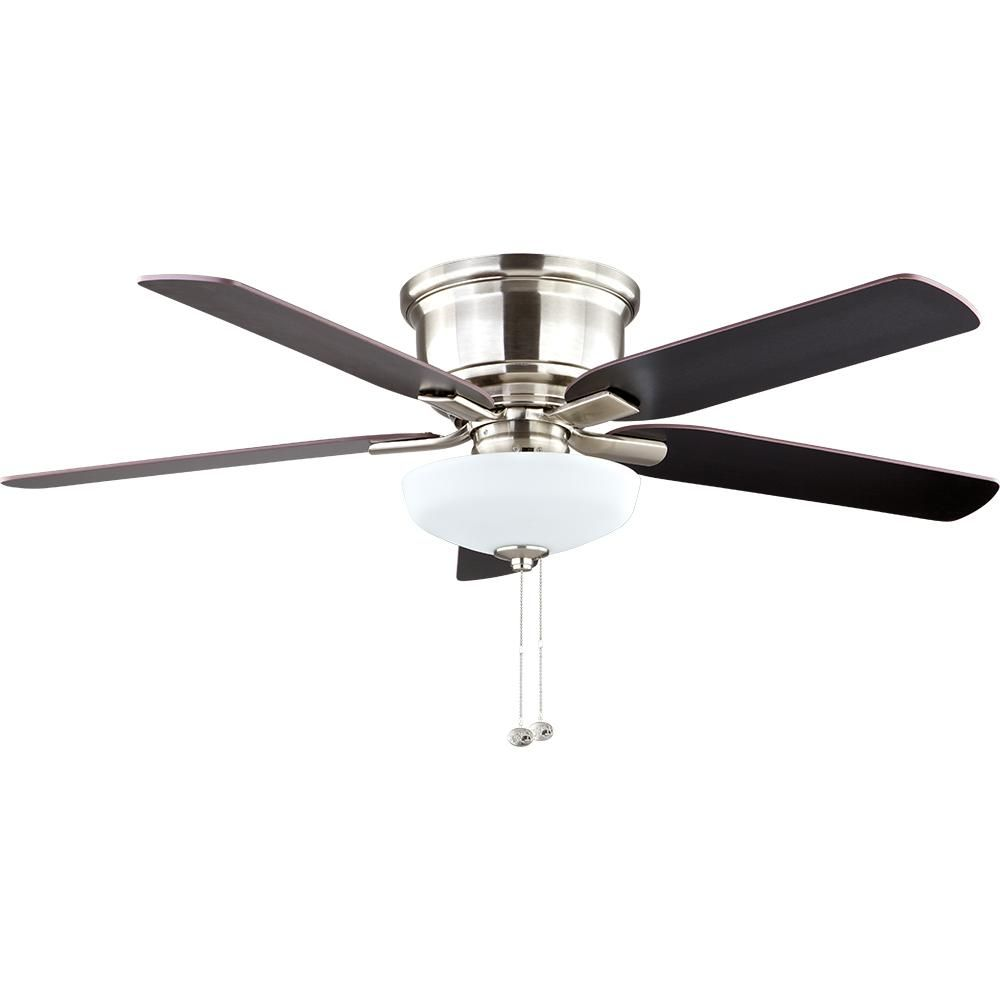 Hampton Bay Holly Springs Low Profile 52 In Led Indoor Brushed Nickel Ceiling Fan With Light Kit 57289 Brushed Nickel Ceiling Fan Ceiling Fan Ceiling Fan With Light
