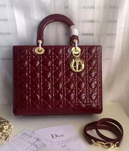 3fd8506bde31 Lady Dior Patent Burgundy Leather With Gold