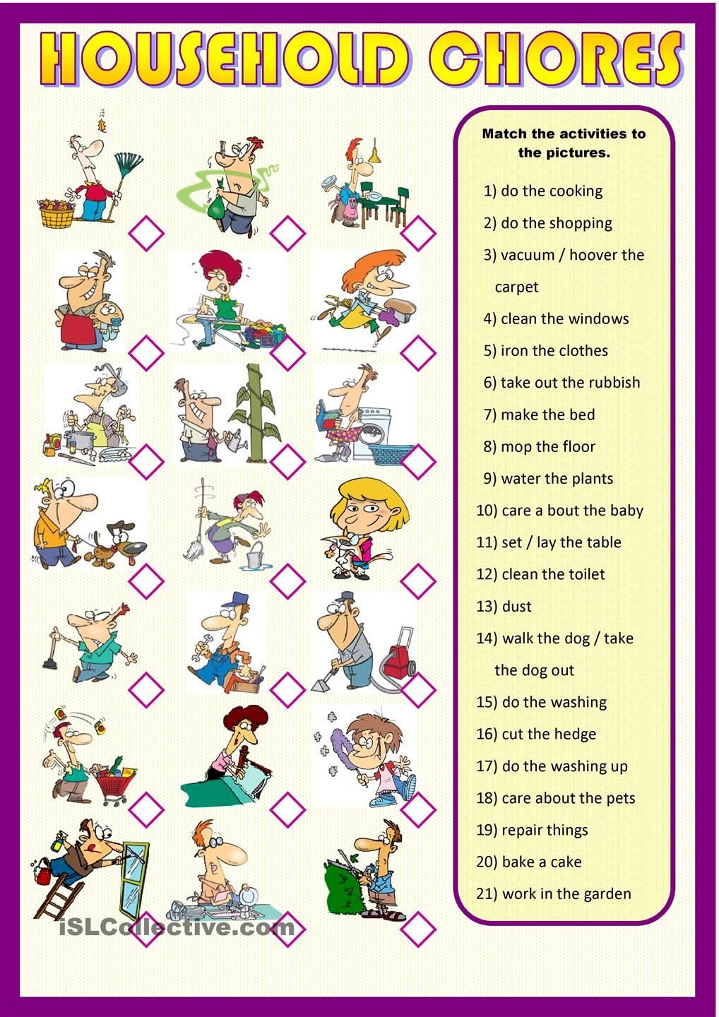 Household Chores English Activities For Kids Learning English For Kids Everyday Activities