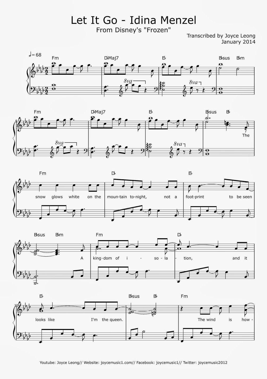 All Sheets: Frozen - Let It Go - Piano - Idina Menzel (Joyce Leong ...