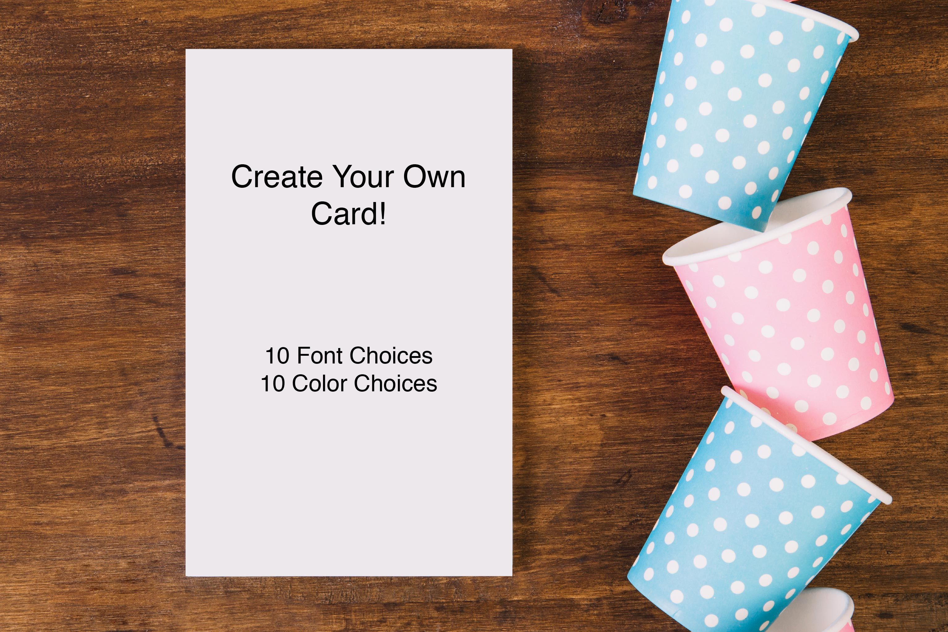 Personalized Custom Greeting Cards Choose From 10 Fonts And 10