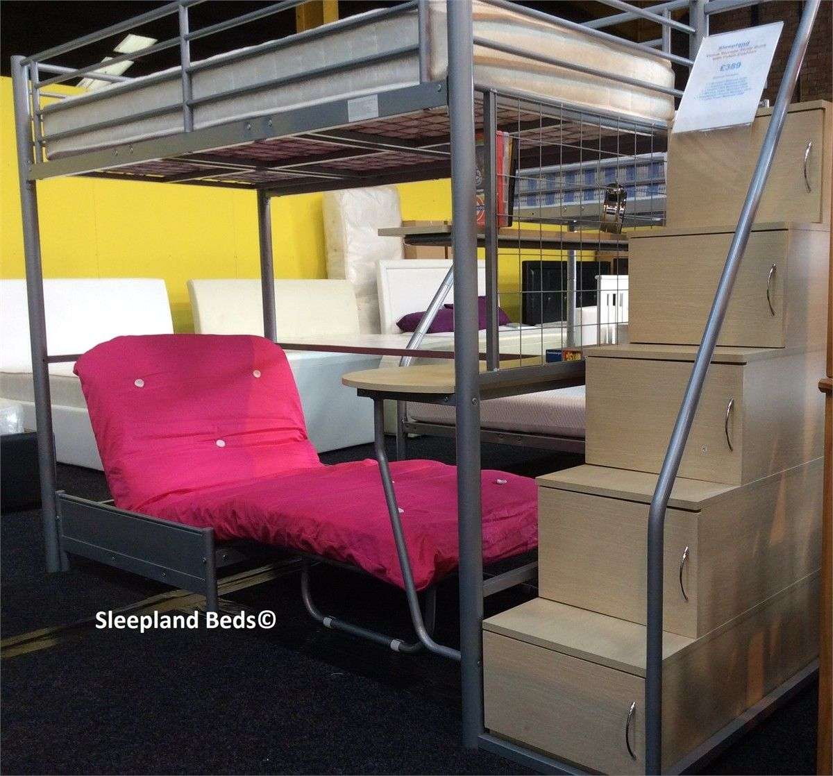 High Sleeper With Futon And Desk