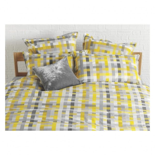 Pixelate Grey And Yellow Patterned Jacquard Double Duvet Cover Bed Linen Design Duvet Covers Double Duvet Covers