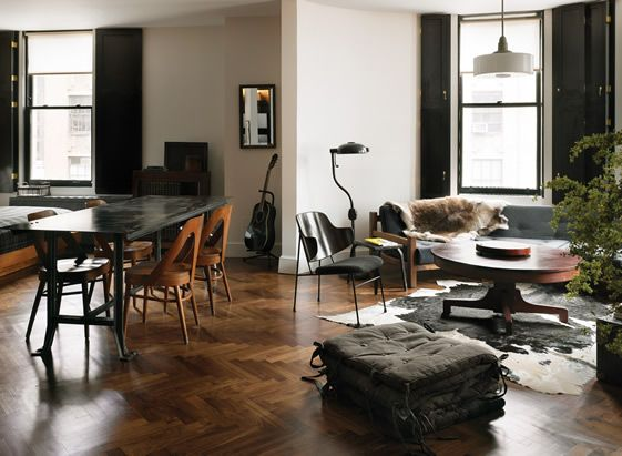 ACE Hotel New York by Roman \ Williams Walnut, Chevron flooring - wandbilder für wohnzimmer