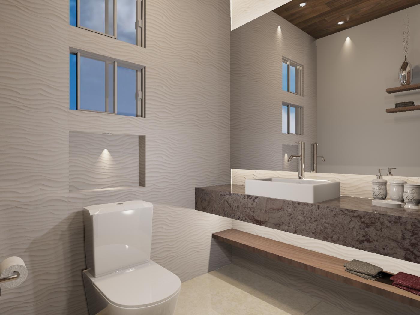 Baño de visitas de estilo contemporáneo. Materiales utilizados ...