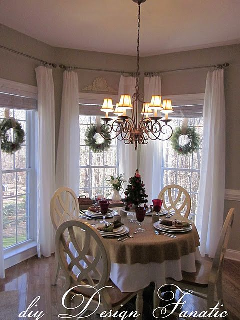 Cly Christmas in 2019 | Bay window treatments, Kitchen ... on ideas for kitchen window coverings, bay window curtain treatments, ideas for kitchen curtains,