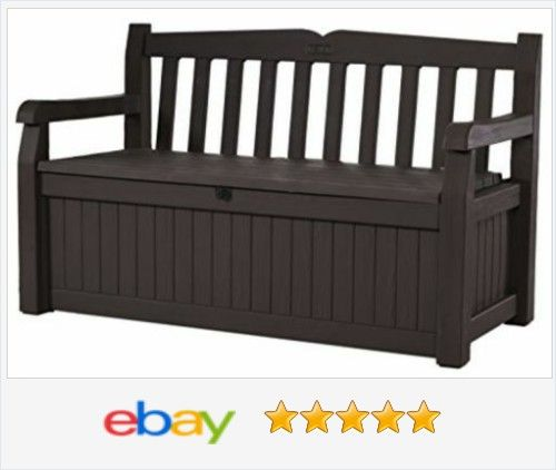 Keter Eden New All #Weather Outdoor #Patio Bench #Deck Box Furniture 70 Gal, Brown