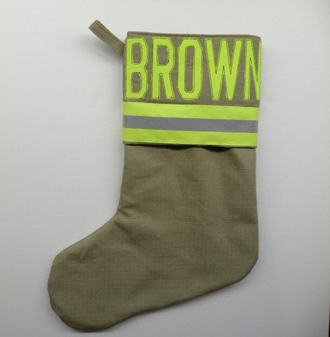 Firefighter Christmas Stocking.Firefighter Personalized Christmas Stocking Tan Firefighter