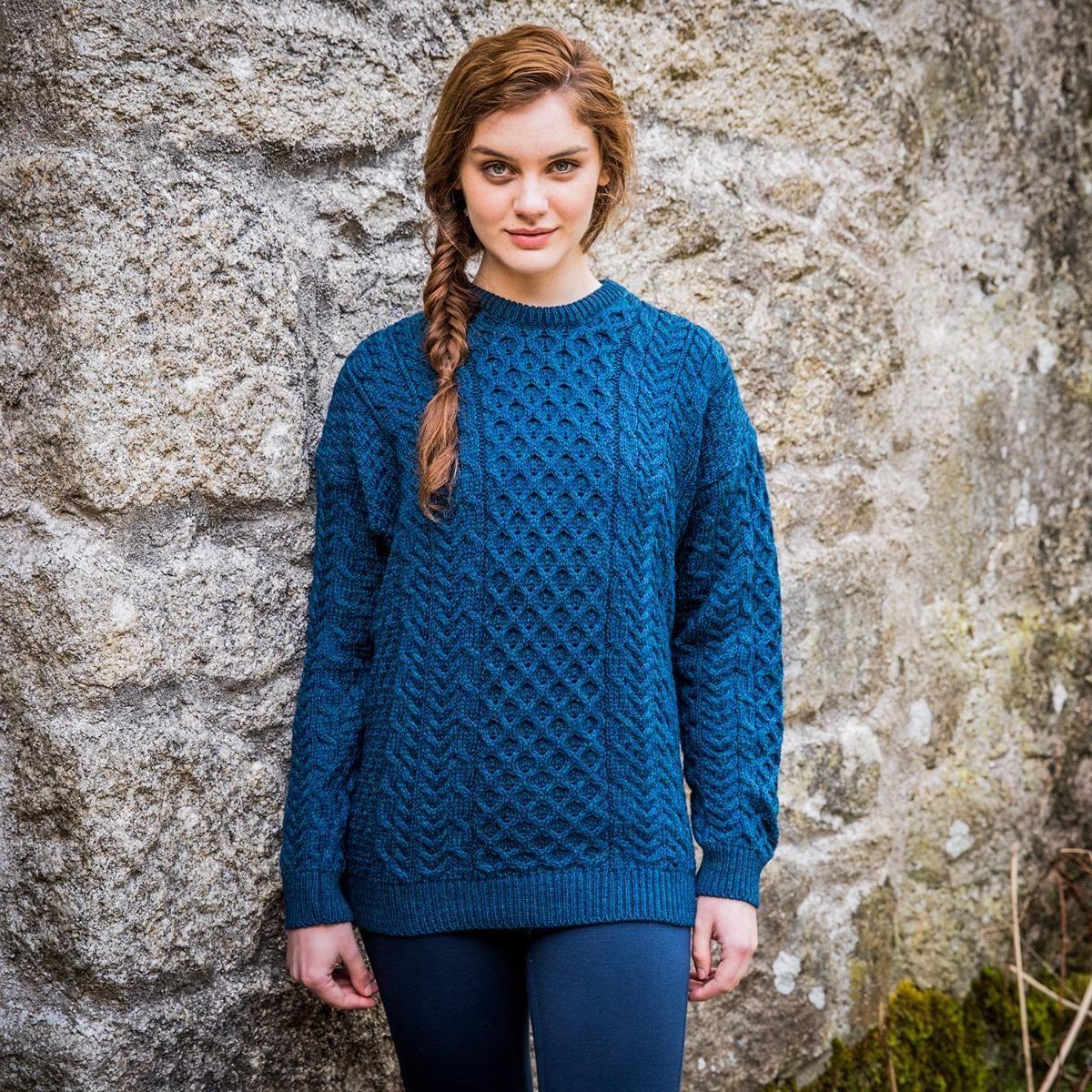 Traditional Ladies Merino Wool Aran Sweater Fashion Possibilities