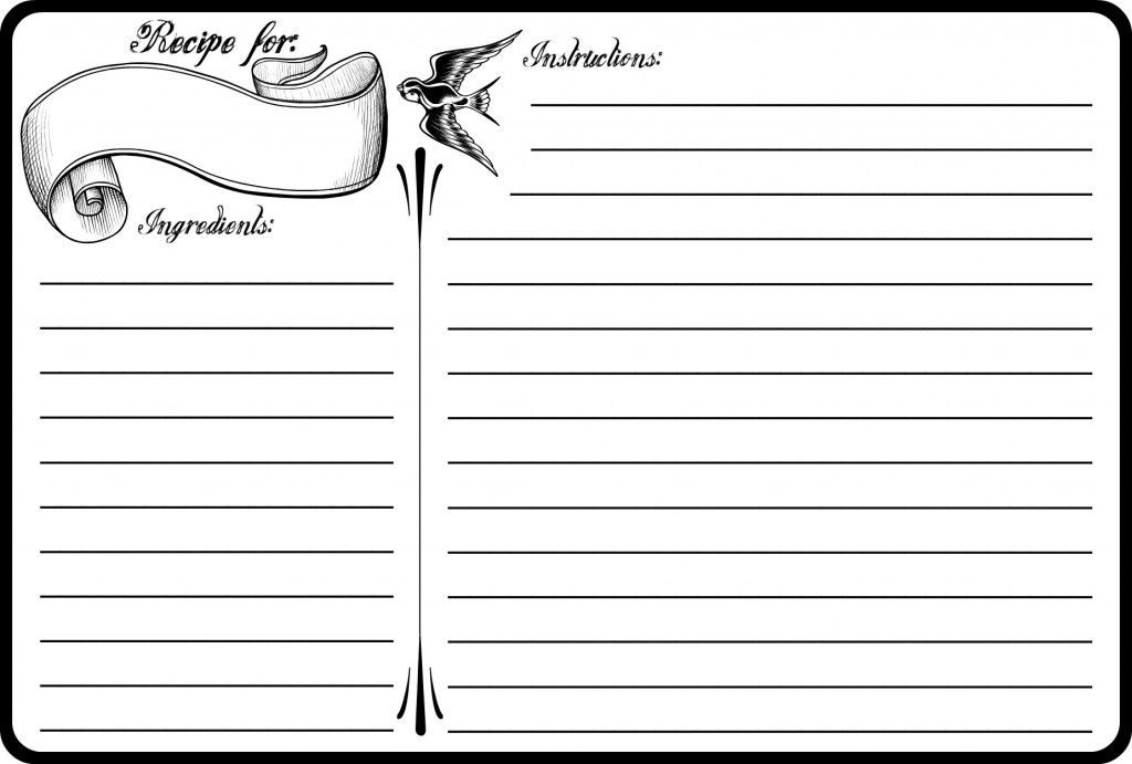 Classic Tattoo 4x6 Recipe Card Free Printable Pinterest Classic - black and white recipe card template