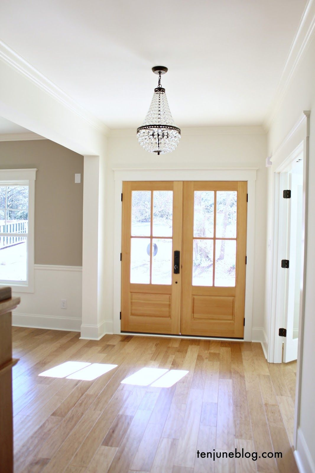 Ten June Building Our House Flooring and Counter Sources Mohawk hickory hand scraped hardwood floors and natural wood front doors entry way & Ten June: Building Our House: Flooring and Counter Sources Mohawk ...