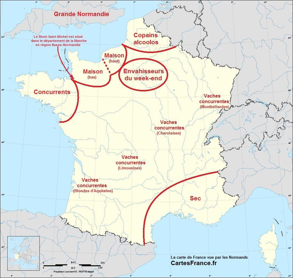 La Carte De France Vue Par Les Normands Carte De France Humour