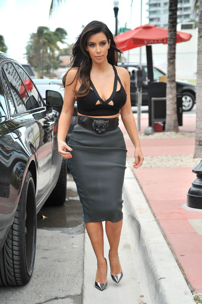 With a Belt | Kim kardashian, Gray and Green pencil skirts