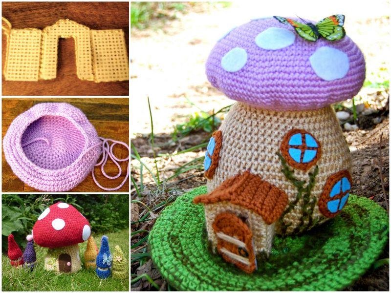 Crochet Mushroom House Lots Of Free Patterns | Croché, Patrones de ...