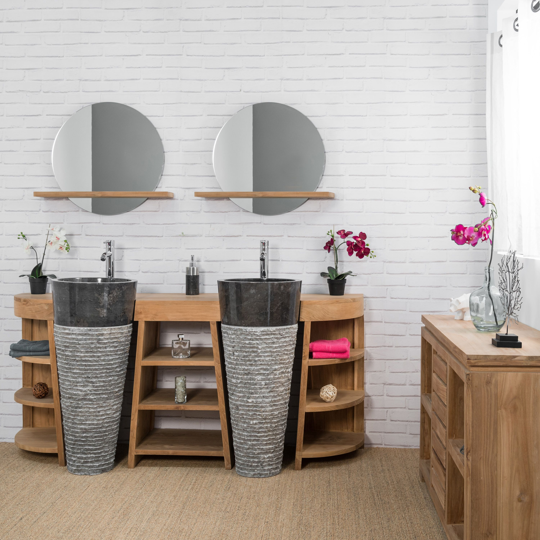 Meuble Sous Vasque En Teck Florence Double 180cm Vasques Noir Salle De Bain En Bambou Meuble Sous Vasque Meuble Salle De Bain