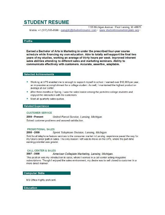 College Student Resume Example Sample Http Www Jobresume Website College Stude Student Resume Resume Objective Statement Examples Resume Objective Examples