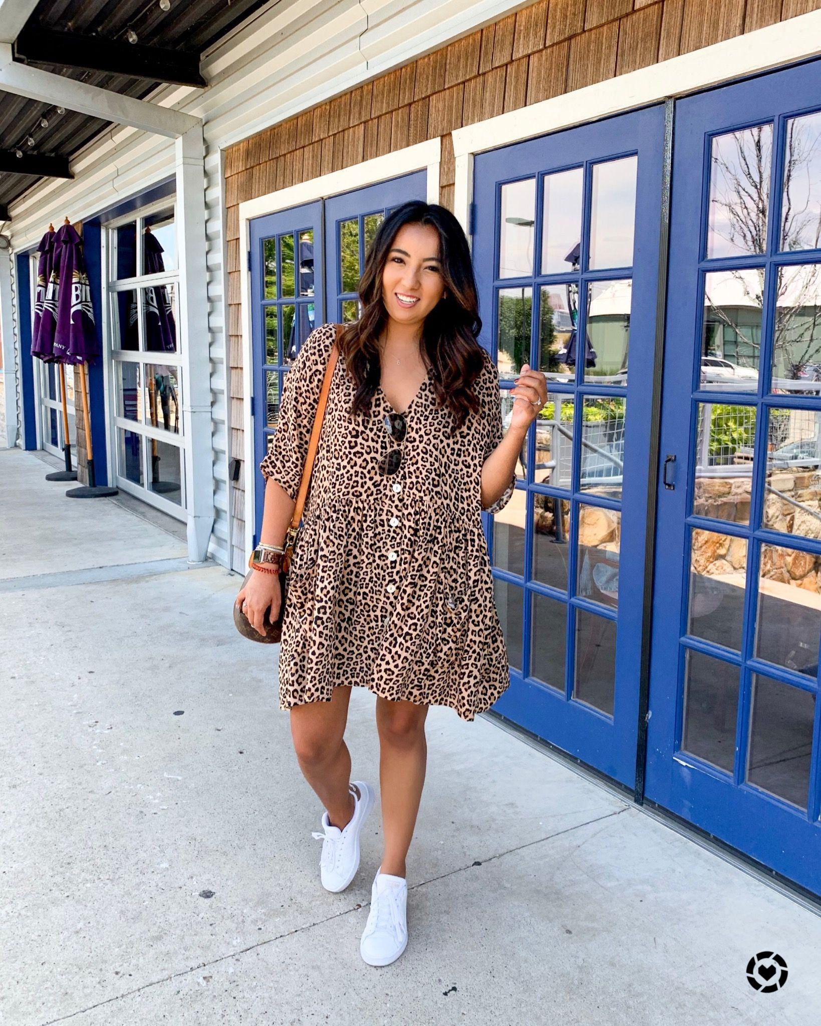 Casual Dress Outfit Ideas Leopard Print Dress Dress And Sneakers Outfit White Sneakers Outfit Leopard Print Dress Outfit [ 2048 x 1639 Pixel ]