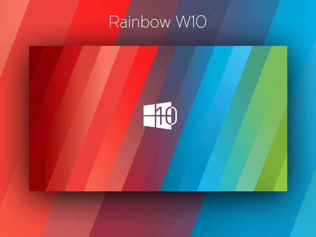 Free Desktop Wallpaper: Rainbow Windows 10 wallpaper (by