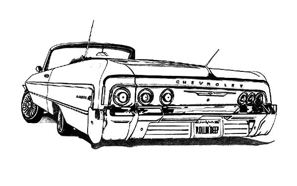 Pin By Micky On Impala Drawings Cars Coloring Pages Lowrider