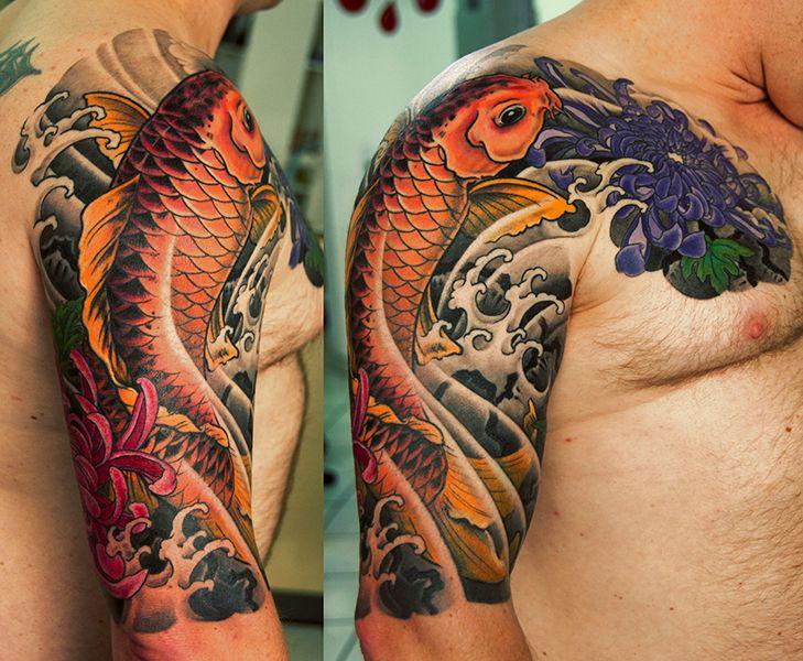 Japanese Koi Sleeve By George Bardadim Bardadim Tattoo Nyc Japanese Tattoo Tattoo Japanese Style Sleeve Tattoos