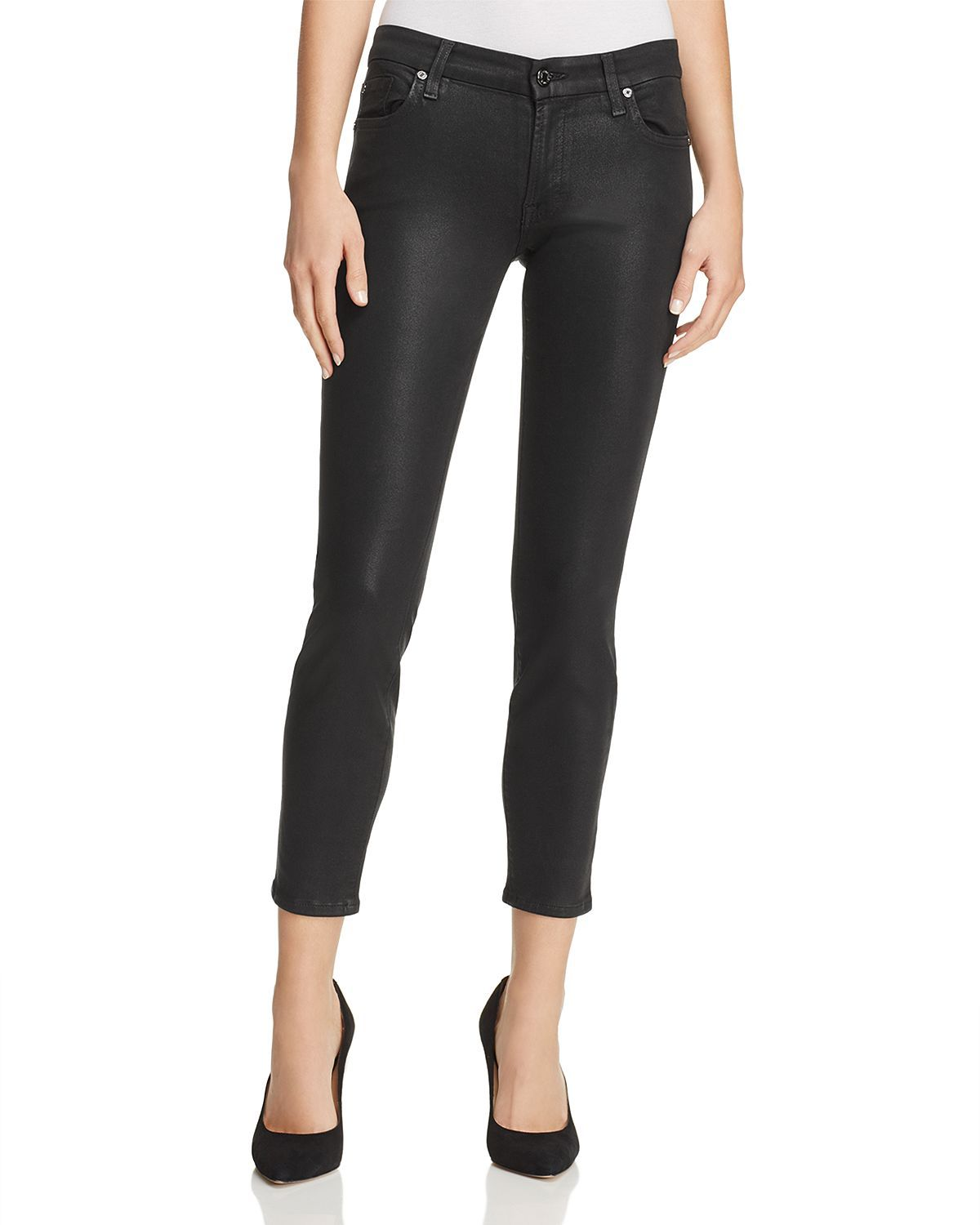 753b6cf3daf8b Coated Ankle Skinny Jeans in Black Clean | Courtney Shopping List ...
