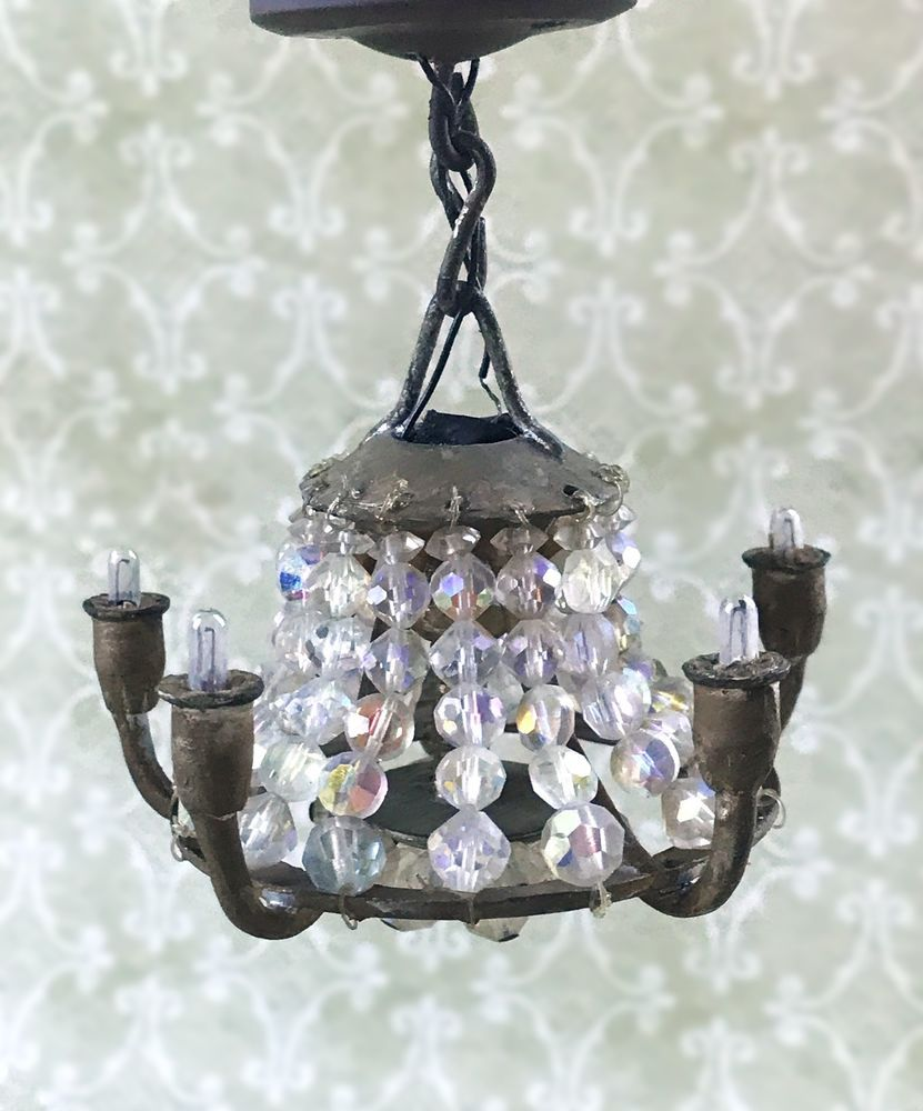 Antique miniature dollhouse 112 1930s french crystal chandelier antique miniature dollhouse 1 12 1930s french crystal chandelier brass fixture arubaitofo Choice Image