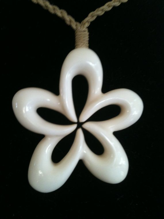 Simple Plumeria Design made from Bone.  Hand carved custom jewelry