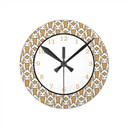 Gold Black and White Art Deco Fan Flowers Pattern Round Clock ...