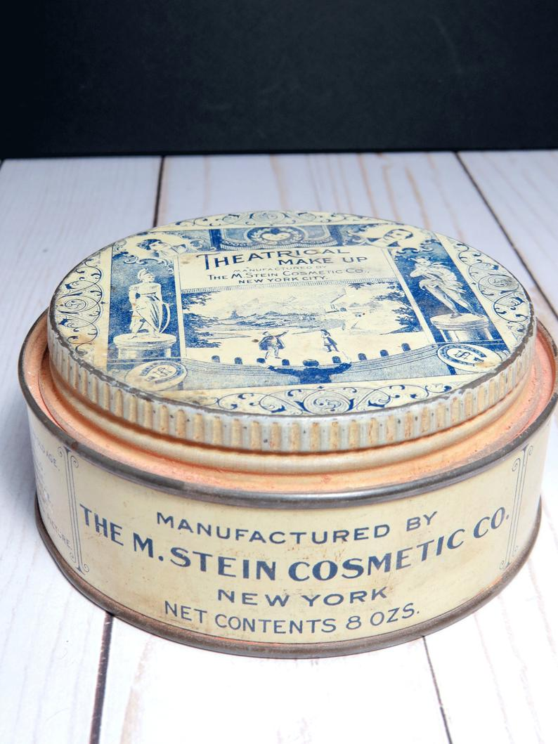 Vintage Theatrical Face Powder Makeup Tin with Powder M