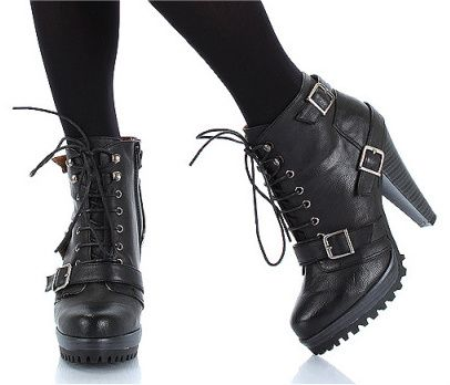 high heeled combat boots | Black high heel hiking combat ...